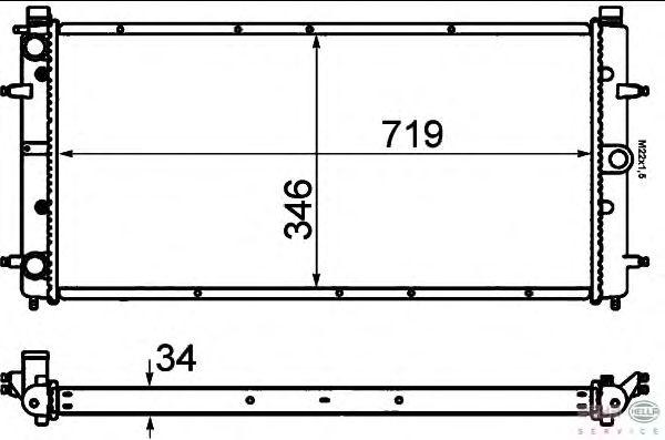 Радиатор, охлаждение двигателя BEHR HELLA SERVICE 8MK 376 714-481