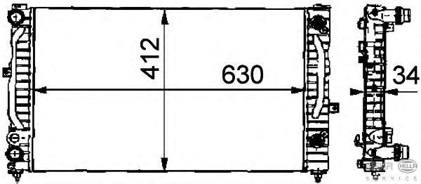Радиатор, охлаждение двигателя BEHR HELLA SERVICE 8MK 376 716-621