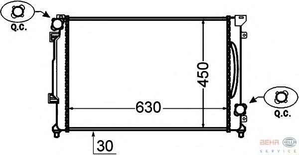Радиатор, охлаждение двигателя BEHR HELLA SERVICE 8MK 376 766-191
