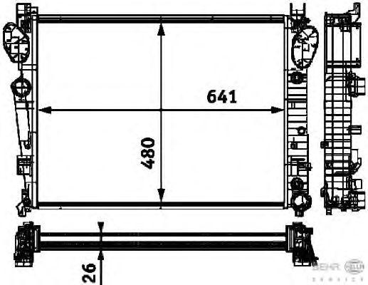 Радиатор, охлаждение двигателя BEHR HELLA SERVICE 8MK 376 712-591
