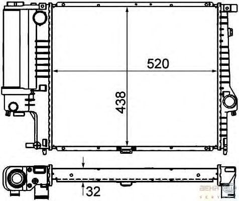 Радиатор, охлаждение двигателя BEHR HELLA SERVICE 8MK 376 713-081