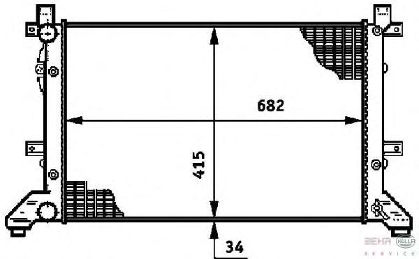 Радиатор, охлаждение двигателя BEHR HELLA SERVICE 8MK 376 719-701