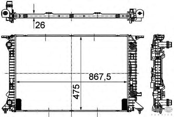 Радиатор, охлаждение двигателя BEHR HELLA SERVICE 8MK 376 745-631