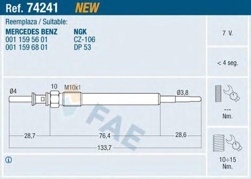 Свеча накала FAE 74241