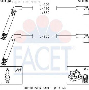 Комплект высоковольтных проводов FACET 4.7208