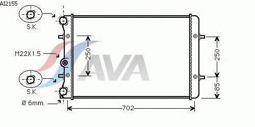 Радиатор, охлаждение двигателя AVA QUALITY COOLING AI2155