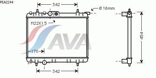 Радиатор, охлаждение двигателя AVA QUALITY COOLING PEA2244