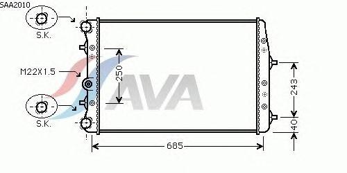 Радиатор, охлаждение двигателя AVA QUALITY COOLING SAA2010