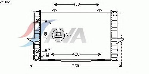 Радиатор, охлаждение двигателя AVA QUALITY COOLING VO2064