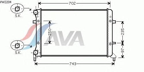 Радиатор, охлаждение двигателя AVA QUALITY COOLING VW2204