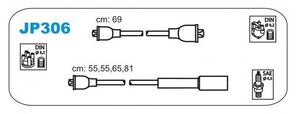 Комплект высоковольтных проводов JANMOR JP306