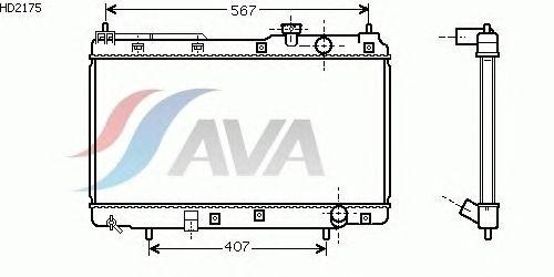 Радиатор, охлаждение двигателя AVA QUALITY COOLING HD2175