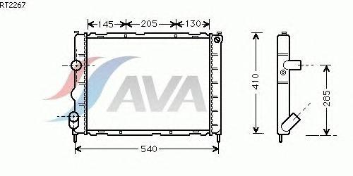 Радиатор, охлаждение двигателя AVA QUALITY COOLING RT2267
