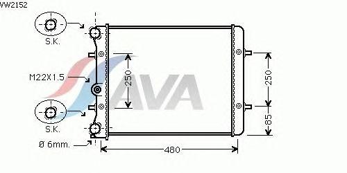 Радиатор, охлаждение двигателя AVA QUALITY COOLING VW2152