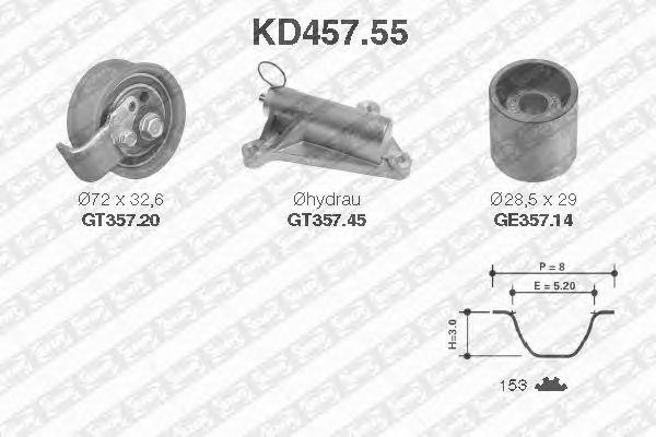 Комплект ремня ГРМ SNR KD457.55
