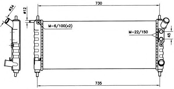 Радиатор, охлаждение двигателя NRF 58154