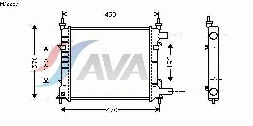 Радиатор, охлаждение двигателя AVA QUALITY COOLING FD2257