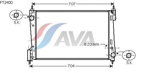 Радиатор, охлаждение двигателя AVA QUALITY COOLING FT2400
