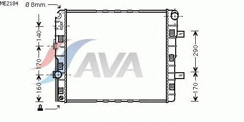 Радиатор, охлаждение двигателя AVA QUALITY COOLING ME2184