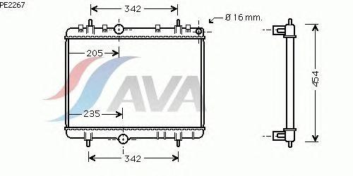 Радиатор, охлаждение двигателя AVA QUALITY COOLING PE2267
