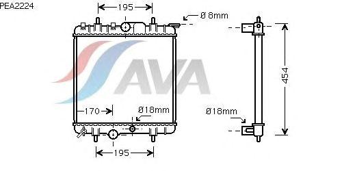 Радиатор, охлаждение двигателя AVA QUALITY COOLING PEA2224