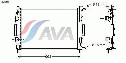 Радиатор, охлаждение двигателя AVA QUALITY COOLING RT2308