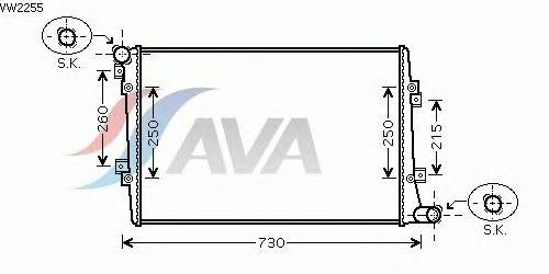 Радиатор, охлаждение двигателя AVA QUALITY COOLING VW2255
