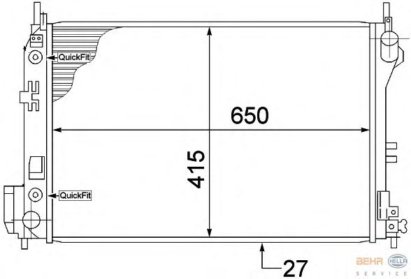 Радиатор, охлаждение двигателя BEHR HELLA SERVICE 8MK 376 771-211