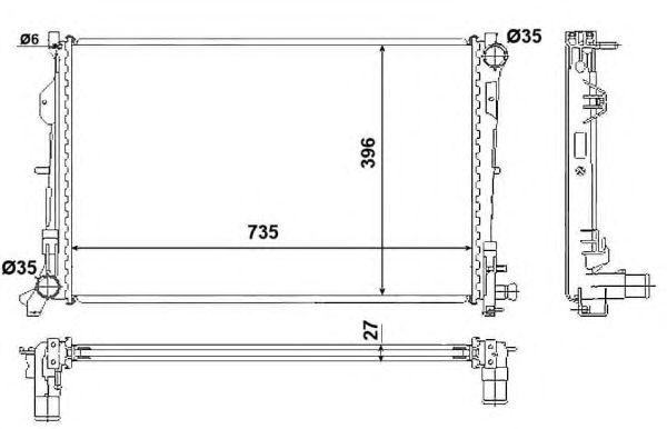 Радиатор, охлаждение двигателя NRF 58230