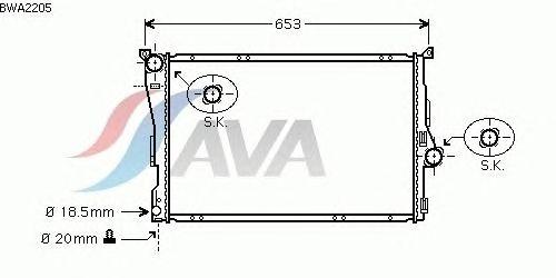 Радиатор, охлаждение двигателя AVA QUALITY COOLING BWA2205