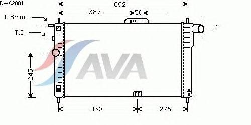Радиатор, охлаждение двигателя AVA QUALITY COOLING DWA2001