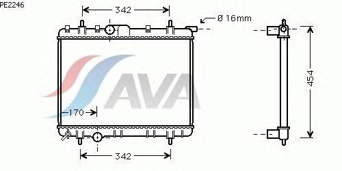 Радиатор, охлаждение двигателя AVA QUALITY COOLING PE2246