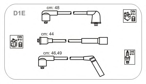 Комплект высоковольтных проводов JANMOR D1E