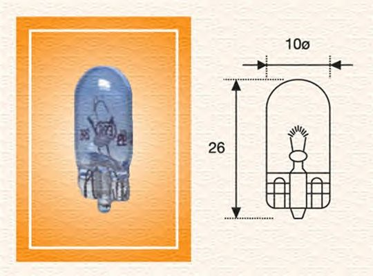 Лампа накаливания MAGNETI MARELLI 002051900000 (фонарь указателя поворота, фонарь освещения номерного знака, внутреннее освещение, освещение щитка приборов)