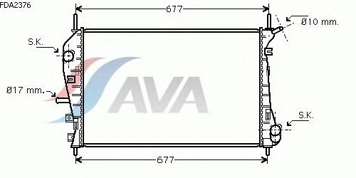 Радиатор, охлаждение двигателя AVA QUALITY COOLING FDA2376