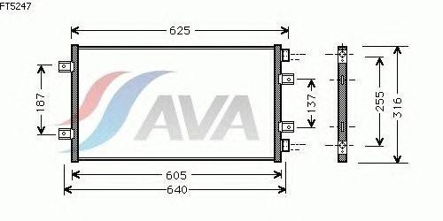 Радиатор кондиционера AVA QUALITY COOLING FT5247