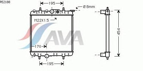 Радиатор, охлаждение двигателя AVA QUALITY COOLING PE2188