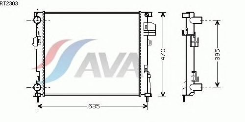 Радиатор, охлаждение двигателя AVA QUALITY COOLING RT2303