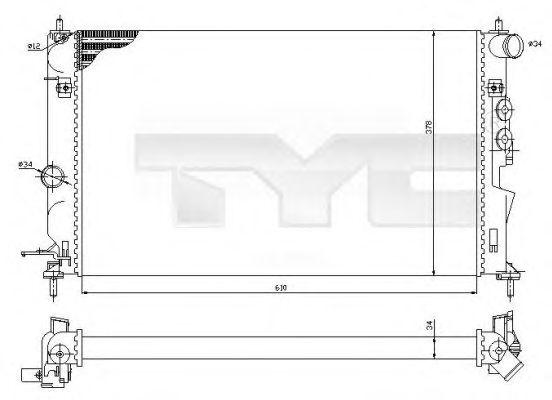 Радиатор, охлаждение двигателя TYC 725-0027-R