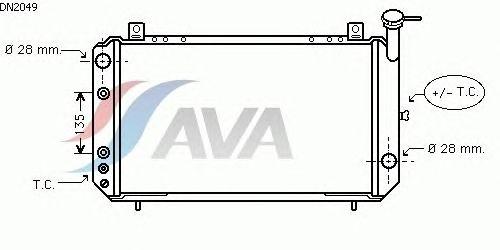 Радиатор, охлаждение двигателя AVA QUALITY COOLING DN2049
