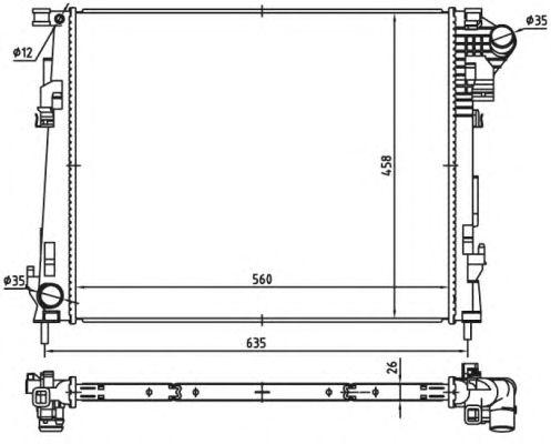 Радиатор, охлаждение двигателя NRF 53966