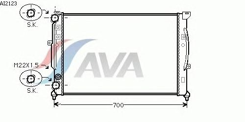 Радиатор, охлаждение двигателя AVA QUALITY COOLING AI2123