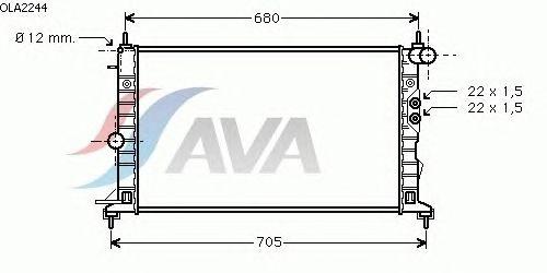 Радиатор, охлаждение двигателя AVA QUALITY COOLING OLA2244