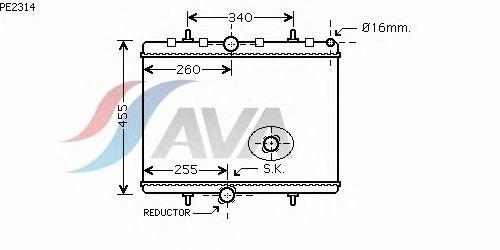 Радиатор, охлаждение двигателя AVA QUALITY COOLING PE2314
