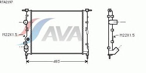Радиатор, охлаждение двигателя AVA QUALITY COOLING RTA2197