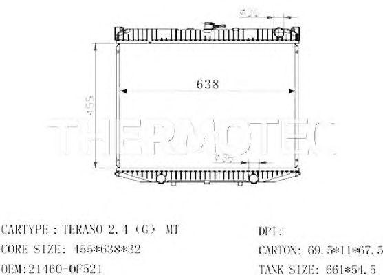 Радиатор, охлаждение двигателя THERMOTEC D71013TT