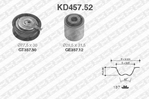 Комплект ремня ГРМ SNR KD457.52