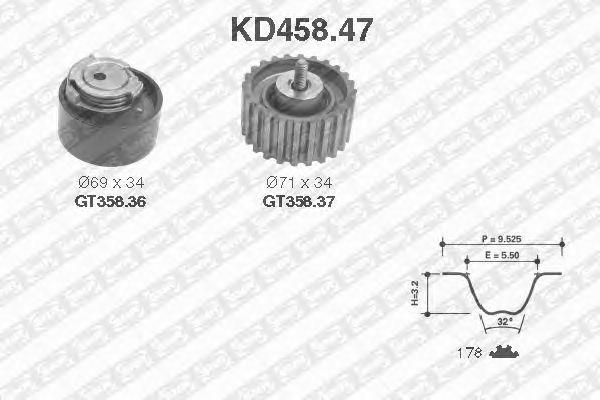 Комплект ремня ГРМ SNR KD458.47