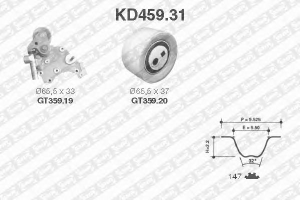 Комплект ремня ГРМ SNR KD459.31