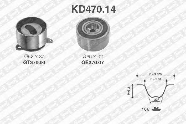 Комплект ремня ГРМ SNR KD470.14